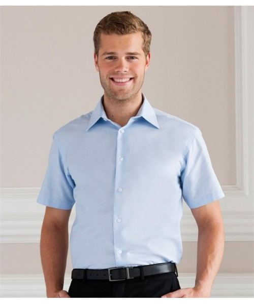 Plain COLLECTION SHORT SLEEVE TAILORED OXFORD SHIRT RUSSELL White 130, Colours 135 GSM
