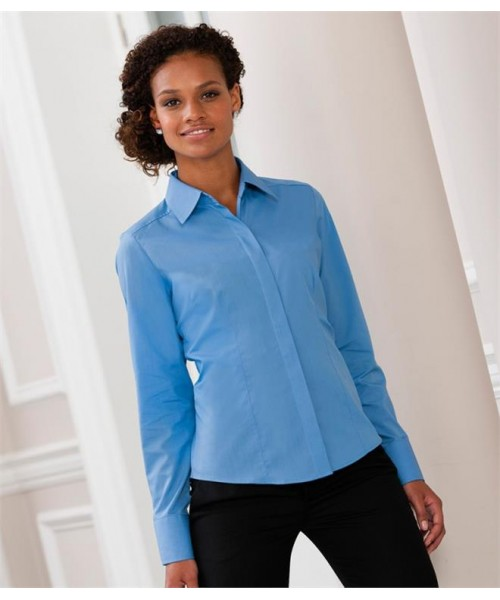 Plain COLLECTION LADIES LONG SLEEVE FITTED POPLIN SHIRT RUSSELL White 115, Colours 110 GSM