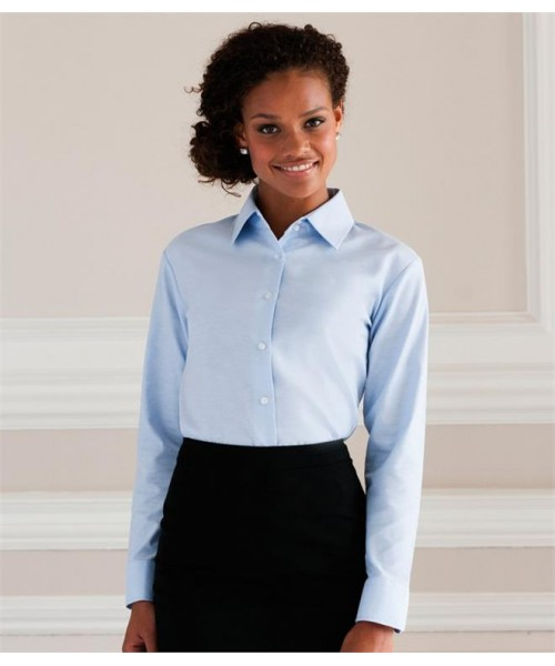 Plain COLLECTION LADIES LONG SLEEVE EASY CARE OXFORD SHIRT RUSSELL White 130,Colours 135 GSM