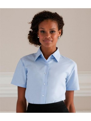 Plain COLLECTION LADIES SHORT SLEEVE EASY CARE OXFORD SHIRT RUSSELL White 130, Colours 135 GSM