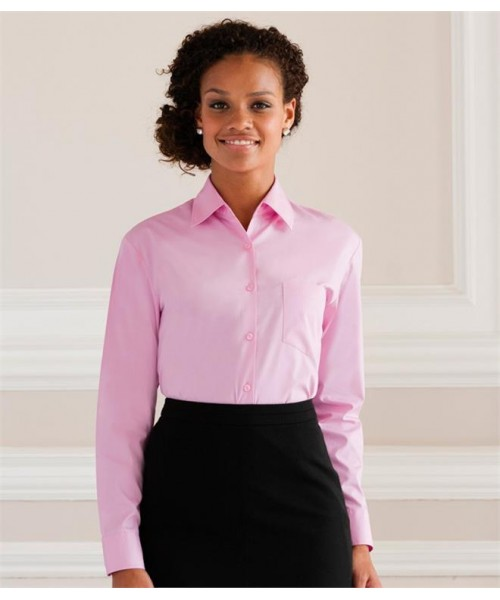 Plain COLLECTION LADIES LONG SLEEVE EASY CARE COTTON POPLIN SHIRT RUSSELL White 120,Colours 125 GSM