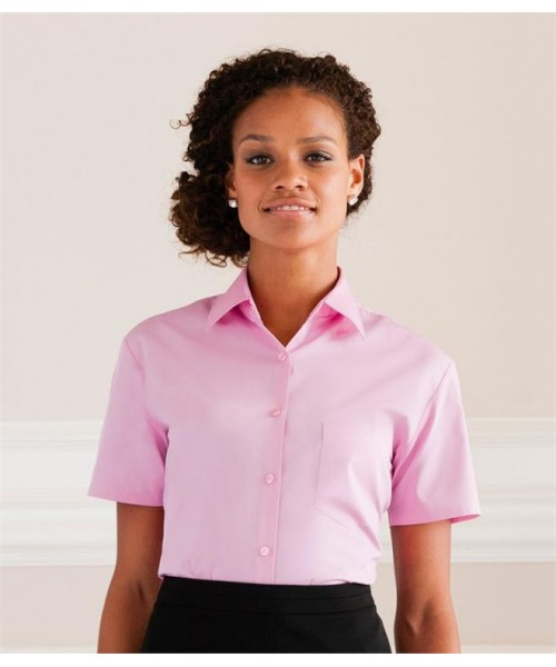 Plain COLLECTION LADIES SHORT SLEEVE EASY CARE COTTON POPLIN SHIRT RUSSELL White 120, Colours 125 GSM