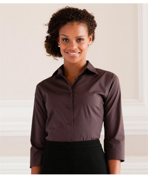 Plain COLLECTION LADIES 3/4 SLEEVE EASY CARE FITTED SHIRT RUSSELL 140 GSM