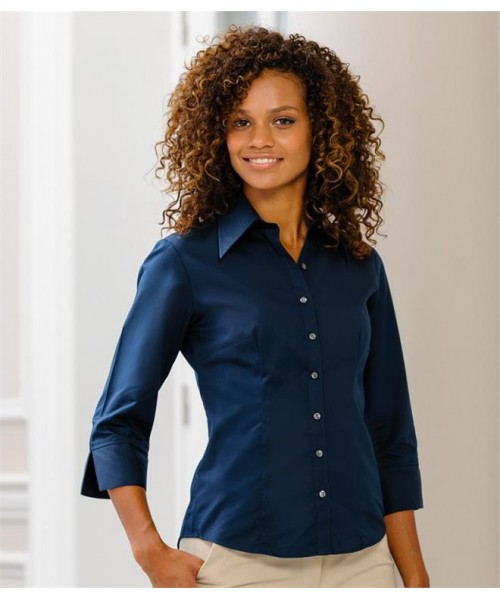 Plain COLLECTION LADIES 3/4 SLEEVE TENCEL FITTED SHIRT RUSSELL 136 GSM