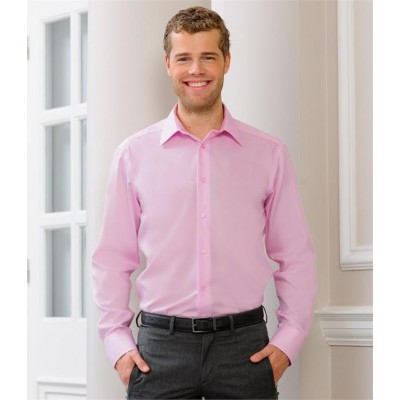 Plain COLLECTION LONG SLEEVE TAILORED ULTIMATE NON-IRON SHIRT RUSSELL 120 GSM