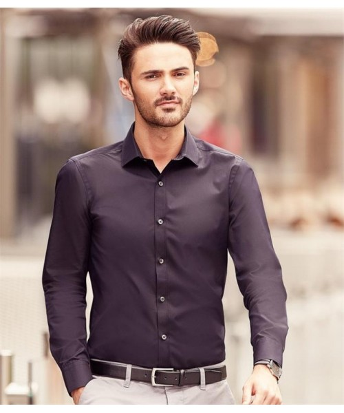 Plain COLLECTION ULTIMATE STRETCH SHIRT RUSSELL White 125,Colours 130 GSM