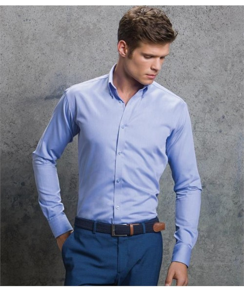 Plain LONG SLEEVE SLIM FIT OXFORD TWILL SHIRT KUSTOM KIT 130 GSM