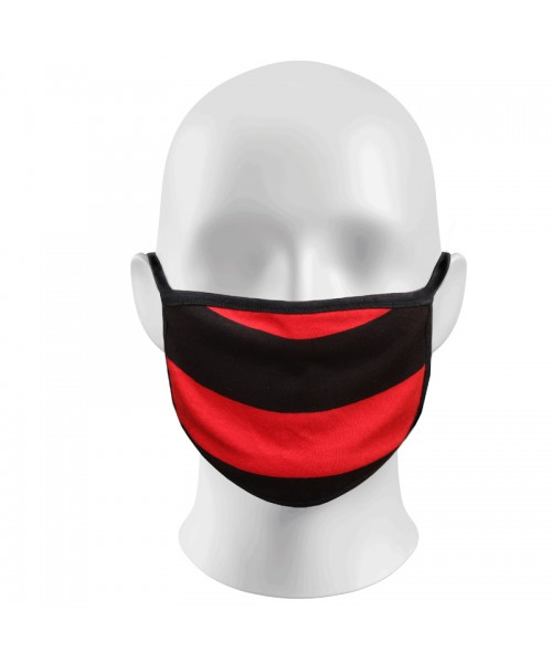 Red and Black striped Face Masks Protection Against Droplets & Dust