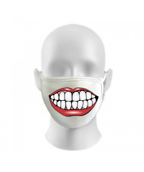 Smile Teeth Print Funny Face Masks Protection Against Droplets & Dust