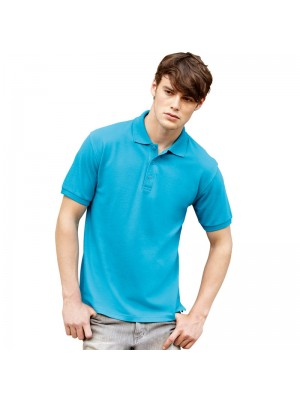 Plain Cotton Azure Blue Polo Shirts