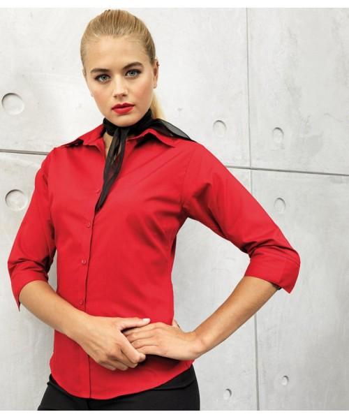 Plain Workwear 3/4 Sleeve Poplin Blouse Sleeved Shirt PREMIER 105 GSM