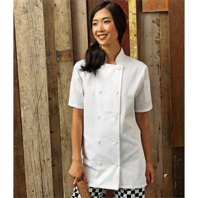 Plain LADIES SHORT SLEEVE CHEF'S JACKET PREMIER 195 GSM