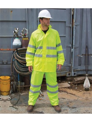 Plain SAFEGUARD HI-VIS WATERPROOF SUIT RESULT 210 GSM