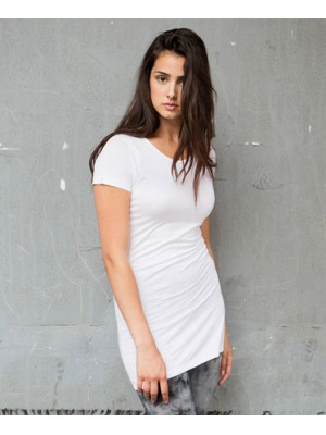 Feminine scoop neck long length slinky T