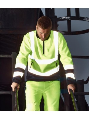 Plain HI-VIS TWO TONE ZIP NECK TOP DICKIES 280 GSM