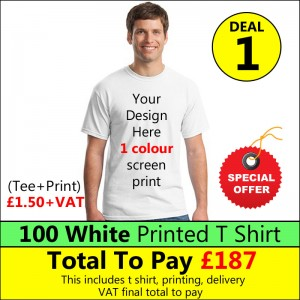 100 White t shirts 1 colour printed Deal 1 - Stars & Stripes