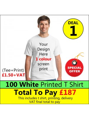100 White t shirts 1 colour printed Deal 1